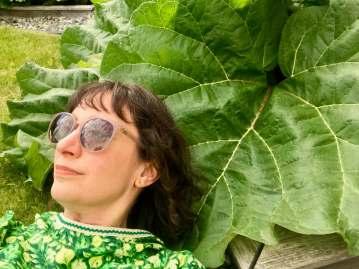 Selfie with rhubarb leaf